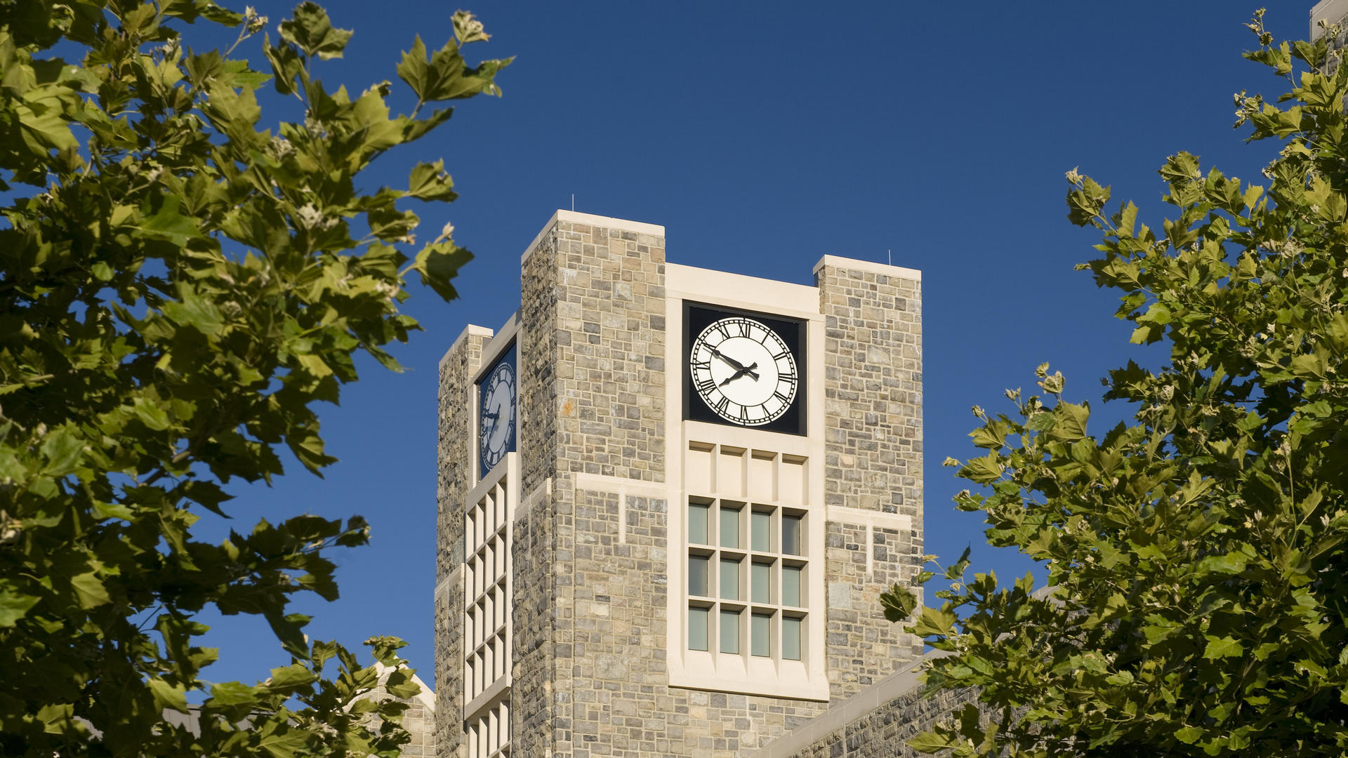 Clock tower at The Inn at Virginia Tech and Skelton Conference Center