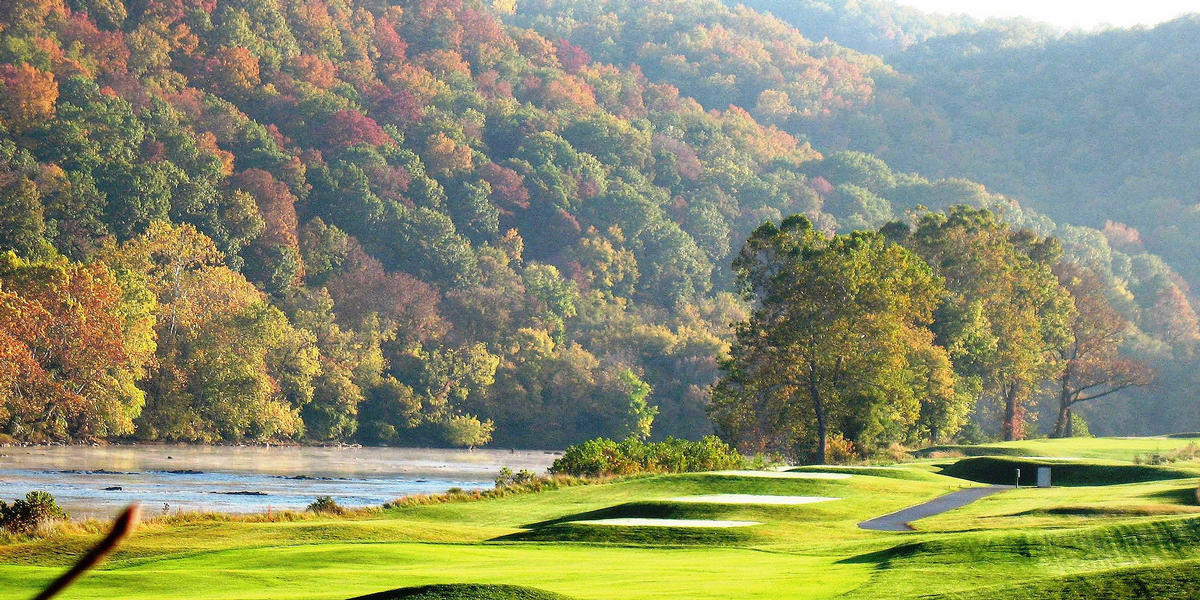 Pete Dye River Course of Virginia Tech during fall