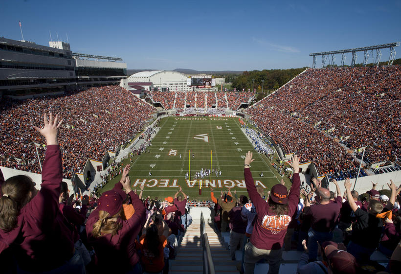 Virginia Tech football game on their home field in Lane Stadium.