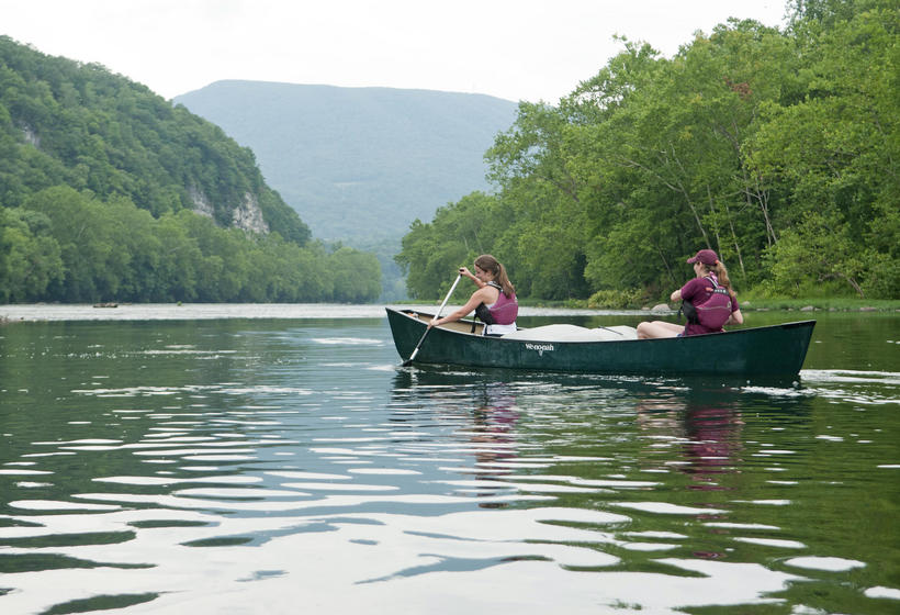 Two Women Canoing on the New River